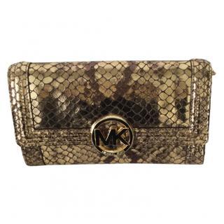 Michael Michael Kors Snakeskin Print Gold Chain Bag