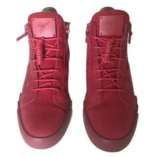 Giuseppe Zanotti Red Leather Hightop Sneakers