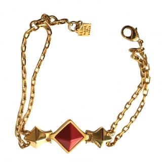 Fendi red pyramid chain bracelet