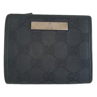 Gucci black fabric monogram wallet