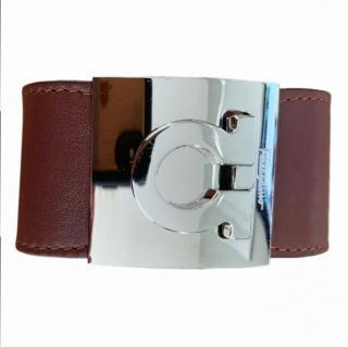Salvatore Ferragamo brown leather buckle cuff