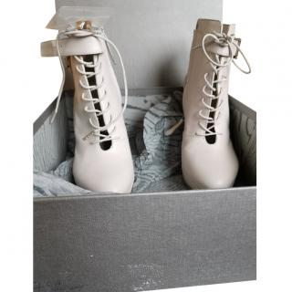 Alexander MCqueen Leather Lace-Up Platform Ankle Boots