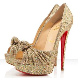 Christian Louboutin Jenny Pumps 150mm in Gold Glitter