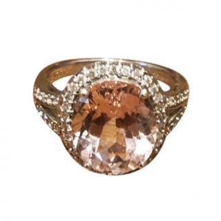 Bespoke 5ct morganite diamond halo ring