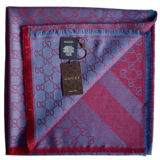 Gucci monogram wool/silk scarf/shawl
