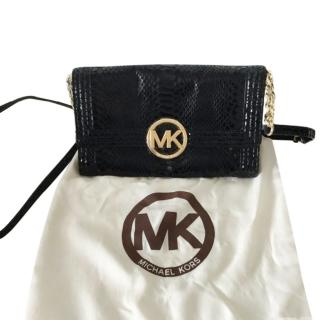 Michael Kors Black Snakeskin Embossed Crossbody Flap Bag