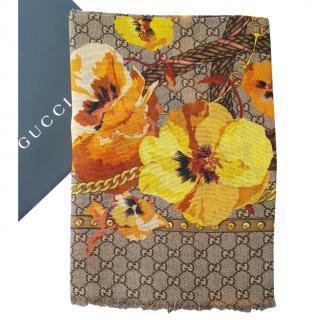 Gucci Monogram Wool Scarf W/ Yellow Floral Trim
