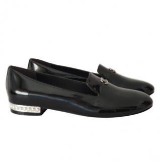 Chanel black patent CC loafers