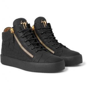 Giuseppe Zanotti Black Croc-Effect Mid Top Sneakers