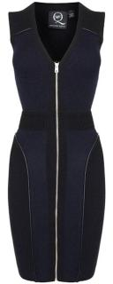 McQ Navy & Black Bodycon Zip Front Dress