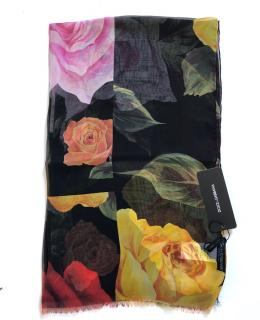 Dolce & Gabbana Multi-Coloured Rose Print Wrap Scarf