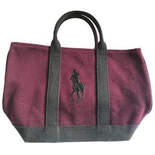 Ralph Lauren Burgundy Canvas Tote Bag