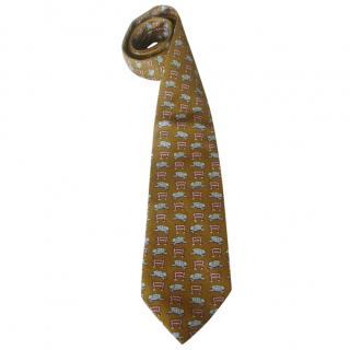 Hermes Silk Sheep Print Tie
