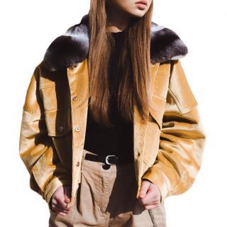 FurbySD Yellow Velvet Chinchilla Fur Trim Jacket