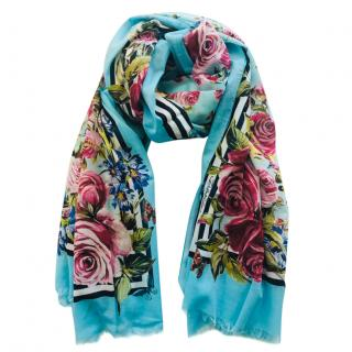 Dolce & Gabbana turquoise floral scarf/wrap/sarong