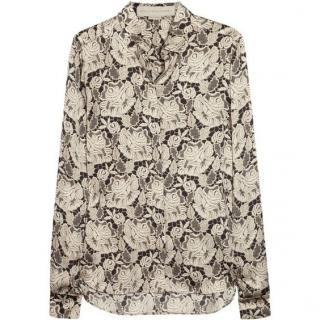 Stella McCartney Silk-Satin Lace Print Shirt