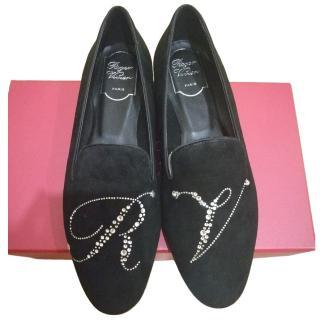 Roger Vivier Crystal Embellished Leather Loafers