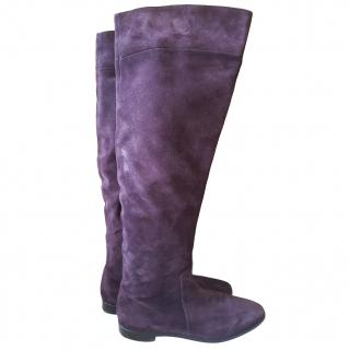 Sergio Rossi long flat purple suede boots