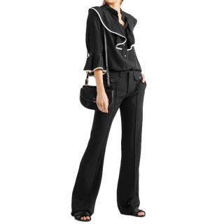 Chloe black ruffle silk blouse