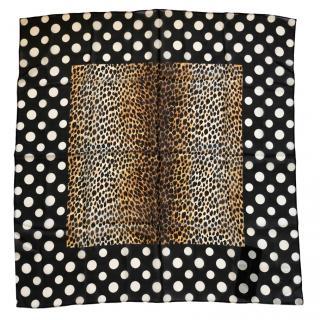 Dolce & Gabbana leopard polka-dot print silk scarf
