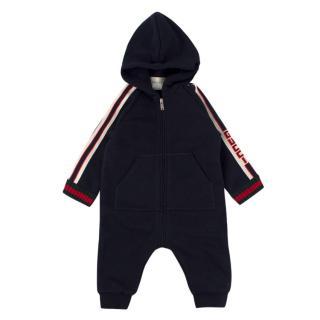 Gucci Newborn Navy Hooded Baby-grow