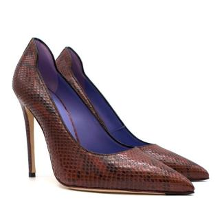 Victoria Beckham The Victoria Burgundy Python Pumps