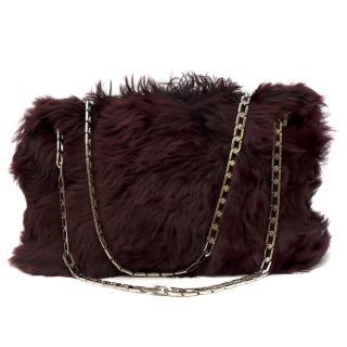 Victoria Beckham Burgundy Rabbit Fur Chain Tote