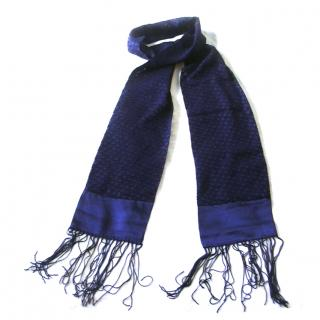 Gerard Darel Silk Long Blue Scarf
