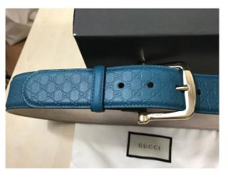 Gucci Blue Guccissima Belt 100