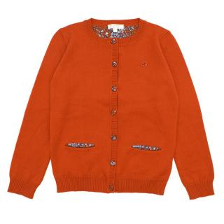 Gucci Girls' Orange Wool Cardigan