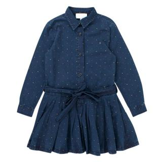 Gucci Girls' Blue Dotted Jacquard Dress
