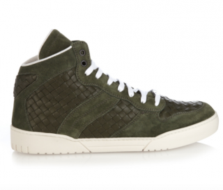 Bottega Veneta Intrecciato Leather And Suede High-Top Trainers