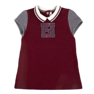Fendi Girls' 3-Years Burgundy Fleeceback Polo Shirt Dress