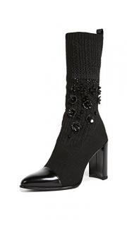 Stuart Weitzman black knit calf-length sock boots