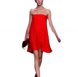 Valentino Red Strapless Silk Dress
