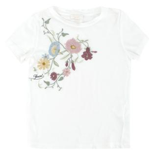 Gucci Girls 4-years White Embroidered Floral T-shirt