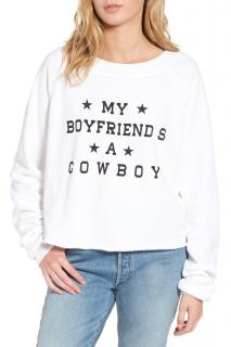 WildFox Couture ' My Boyfriend is a cowboy' cropped sweatshirt