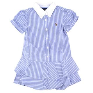 Ralph Lauren Girls 2-years Blue Striped Polo Dress