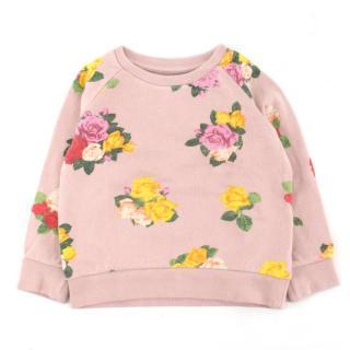 Stella McCartney Girls' Pink Floral-print Cotton Jumper