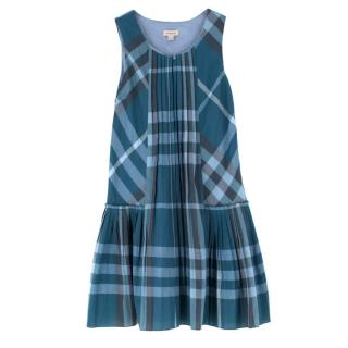 Burberry Teal Blue Check Cotton-blend Dress