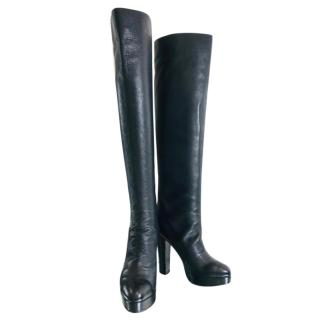 Chanel Black Leather Over The Knee Boots