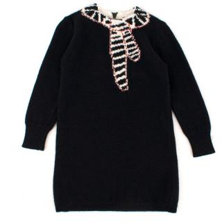 Bonpoint Girls 3-years Black Knit Dress