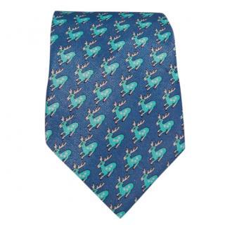 Hermes blue reindeer-print silk-twill tie