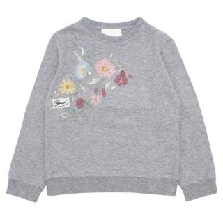 Gucci Girls 4-years Grey Embroidered Floral Sweatshirt