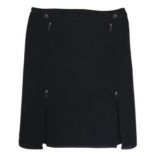 Prada zip-hem black skirt
