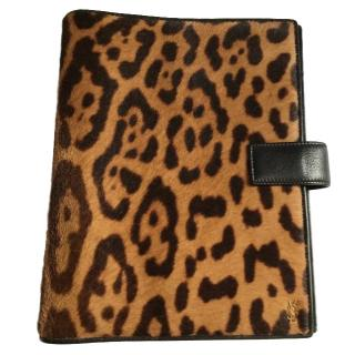 Yves Saint Lauren leopard-print calf hair organiser