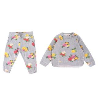 Stella McCartney Girls Grey Floral Sweatshirt and Trousers Set