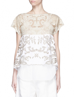 Chlo� Floral Embroidered Cotton-linen Top in Natural