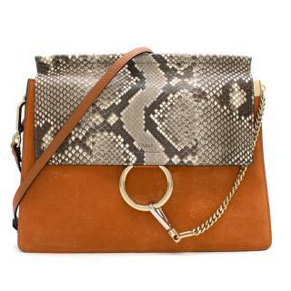 387322609076 Chloe Python & Tannish Red Suede 'Faye' Shoulder Bag