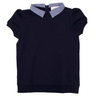 Gucci Girls' Navy Cotton-blend Top